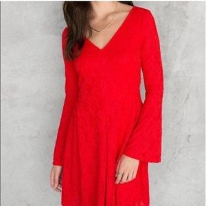NWT Francesca's Rosella red lace bell sleeve dress